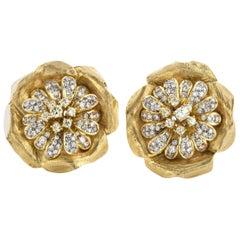 18 Karat Gold Ladies Clip-On Earrings with Diamonds, circa 1970s