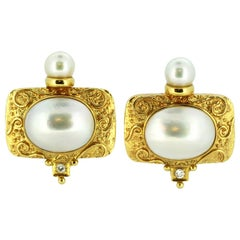18 Karat Gold Ladies Clip-On Earrings with Natural Freshwater Pearls & Diamonds