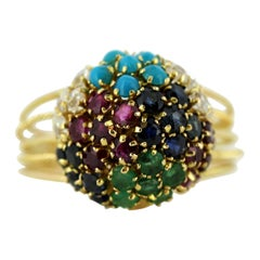 18 Karat Gold Ladies Cluster Ring with Diamonds, Sapphire, Ruby, Emerald