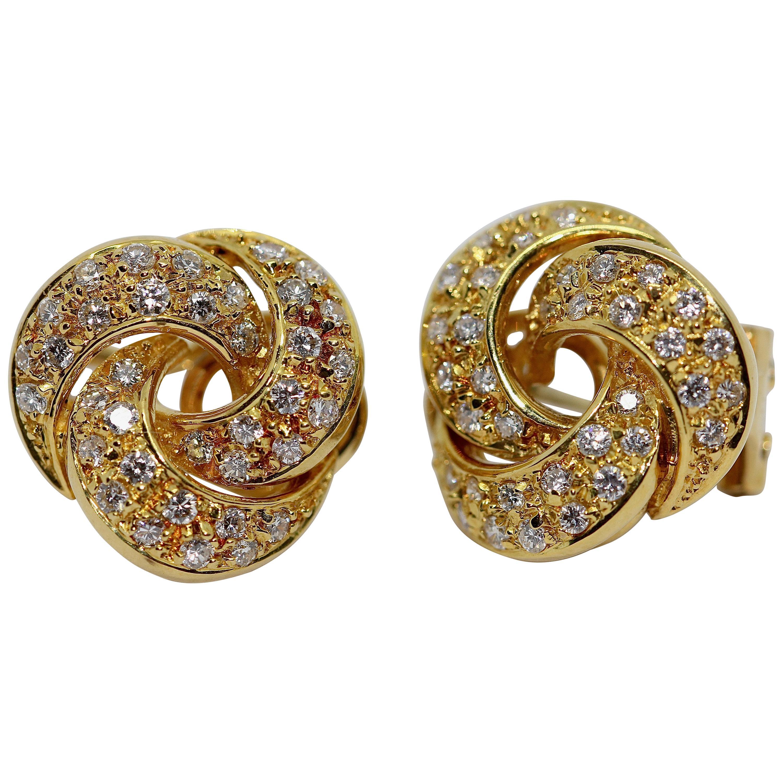 18 Karat Gold Ladies Diamond Earrings by Türler