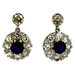 18 Karat Gold Ladies Earrings with Natural Blue Sapphire and Diamonds circa 1970