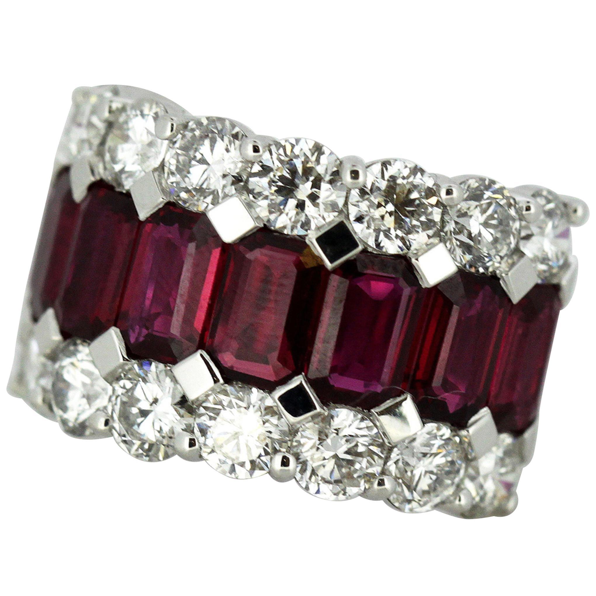18 Karat Gold Ladies Half Eternity Ring with Natural Burmese Rubies and Diamonds