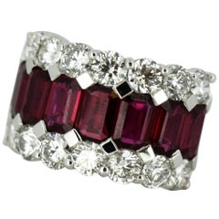 18 Karat Gold Ladies Half Eternity Ring with Natural Burmese Rubies and Diamonds