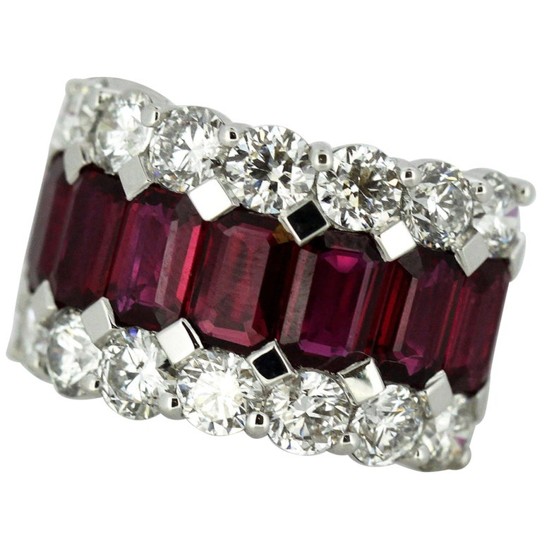 18 Karat Gold Ladies Half Eternity Ring with Natural Burmese Rubies and Diamonds For Sale