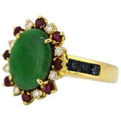 18 Karat Gold Ladies Ring with Jade, Rubies, Diamonds and Sapphires, USA