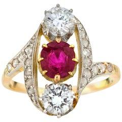 18 Karat Gold Ladies Ring with Natural Burma Ruby and Diamonds