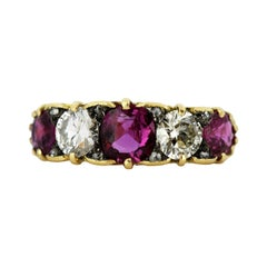 18 Karat Gold Ladies Ring with Natural Ruby and Diamonds