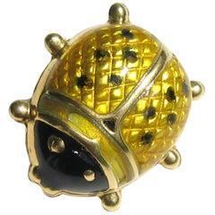 18 Karat Gold Ladybug Brooch Black and Yellow Enamel Pin