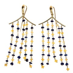 18 Karat Gold Lapilazuli Opal Pagoda Earrings