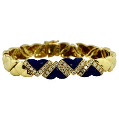 18 Karat Gold, Lapis and Diamond Bracelet, Fred, Paris