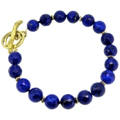 18 Karat Gold Lapis Horse Toggle Bracelet