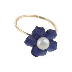 18 Karat Gold Lapis Lazuli Flower Freshwater Pearl Spring Italian Handmade Ring
