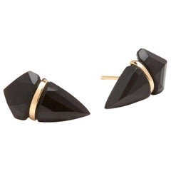 18 Karat Gold Large Black Onyx Stud Earrings