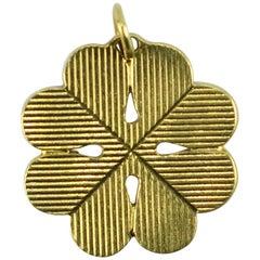 18 Karat Gold Large Engraved Four Leaved Clover or Shamrock Charm Pendant