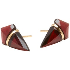 18 Karat Gold Large Garnet Stud Earrings