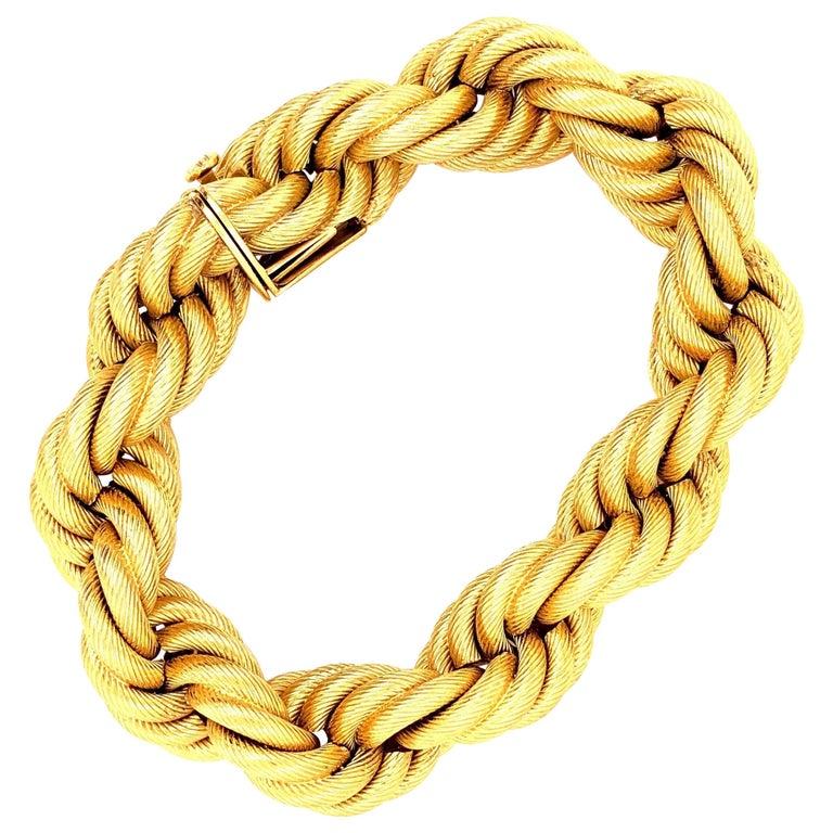 18 Karat Gold Large Twisted Rope Bracelet For Sale