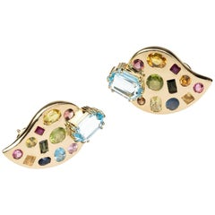 18 Karat Gold Leaf Earrings Aquamarine Peridot Tourmaline Ruby
