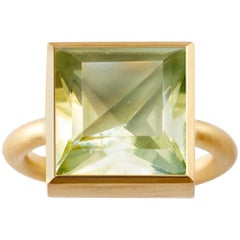 18 Karat Gold Lemon Quartz Green Fluorite Two-Stone Modern Cocktail Ring 7-13