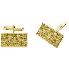 18 Karat Gold Lily Flower Cufflinks