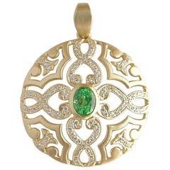 18 Karat Gold Line Mandala Pendant with Diamonds and Green Tsavorite Garnets