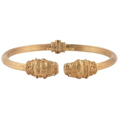 18 Karat Gold Lion Head Bangle Bracelet, LaLaounis
