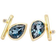 18 Karat Gold, London Blue Topaz, Diamonds Angle Studs Pierced Earrings