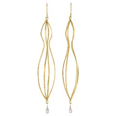 18 Karat Gold Long Cage Earrings with Sapphire Briolette