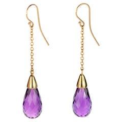 18 Karat Gold Long Chain Pendulum Purple Amethyst Briolette Handmade Earrings
