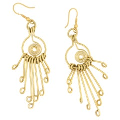 Long Drop Earrings in 18 Karat Yellow Gold