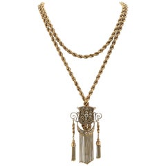 18 Karat Gold Long Rope Chain Necklace with Sliding Medallion