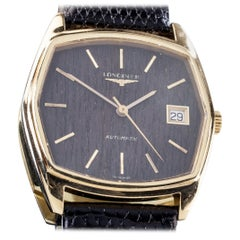 18 Karat Gold Longines Men's Automatic Watch with Wood Dial and Leather Band