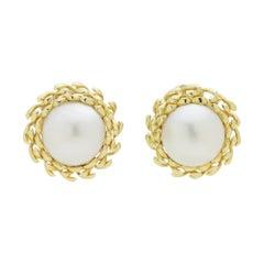 18 Karat Gold Mabe Pearl Earrings