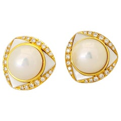 18 Karat Gold, Mabe Pearl & Mother of Pearl Clip-On Earring, 1.06 Carat Diamonds