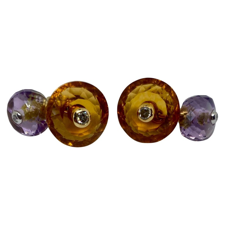 18 Karat Gold, Madera Citrine, Amethyst and Diamond Cufflinks For Sale