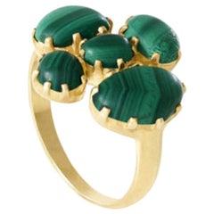 18 Karat Gold Malachite Scream Green Dot Set Cluster Ring