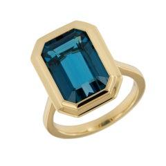 """18 Karat Gold """"Manhattan Collection"""" 9.48 Ct. London Blue Topaz Ring by Goshwara"""
