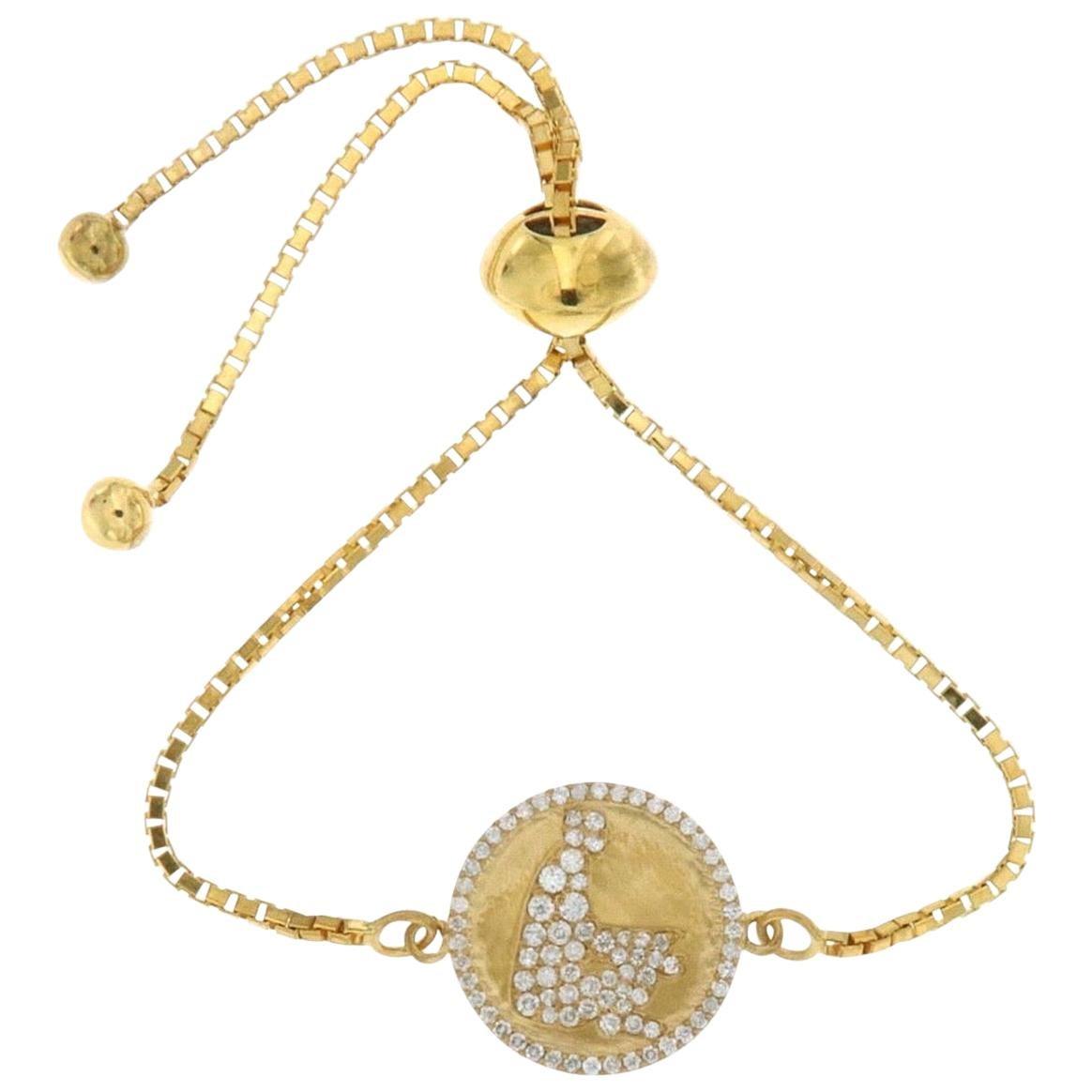 18 Karat Gold Meditation Ohm Diamond Chain Bracelet