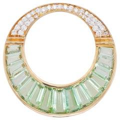 18 Karat Gold Mint Green Tourmaline Baguette Diamond Circular Pendant Necklace