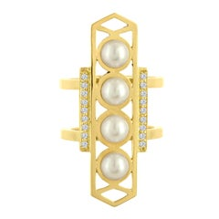 18 Karat Gold Modern Ring with Pearls and Diamonds