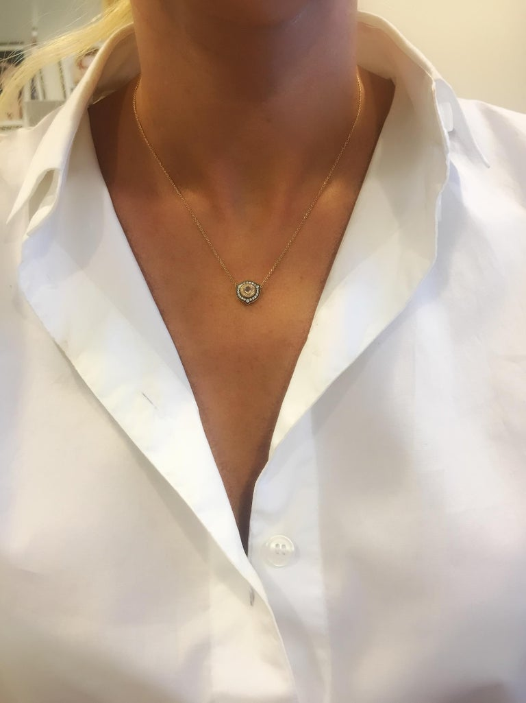 18 Karat Rose Gold 'Princesses Necklace' from Once Upon a Time Collection created by Monan with 0.08 carats of a round rose cut diamond and 37 brilliant cut diamonds with the total weight of 0.23 carats. Once Upon Princess Necklace has its very