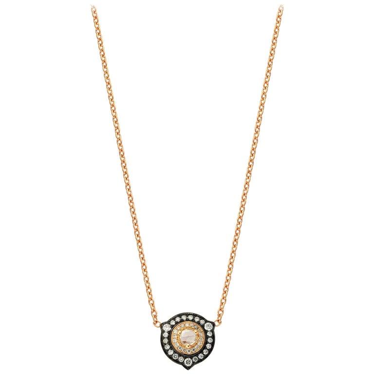 18 Karat Gold Monan 0.31 Carat Diamond Necklace For Sale
