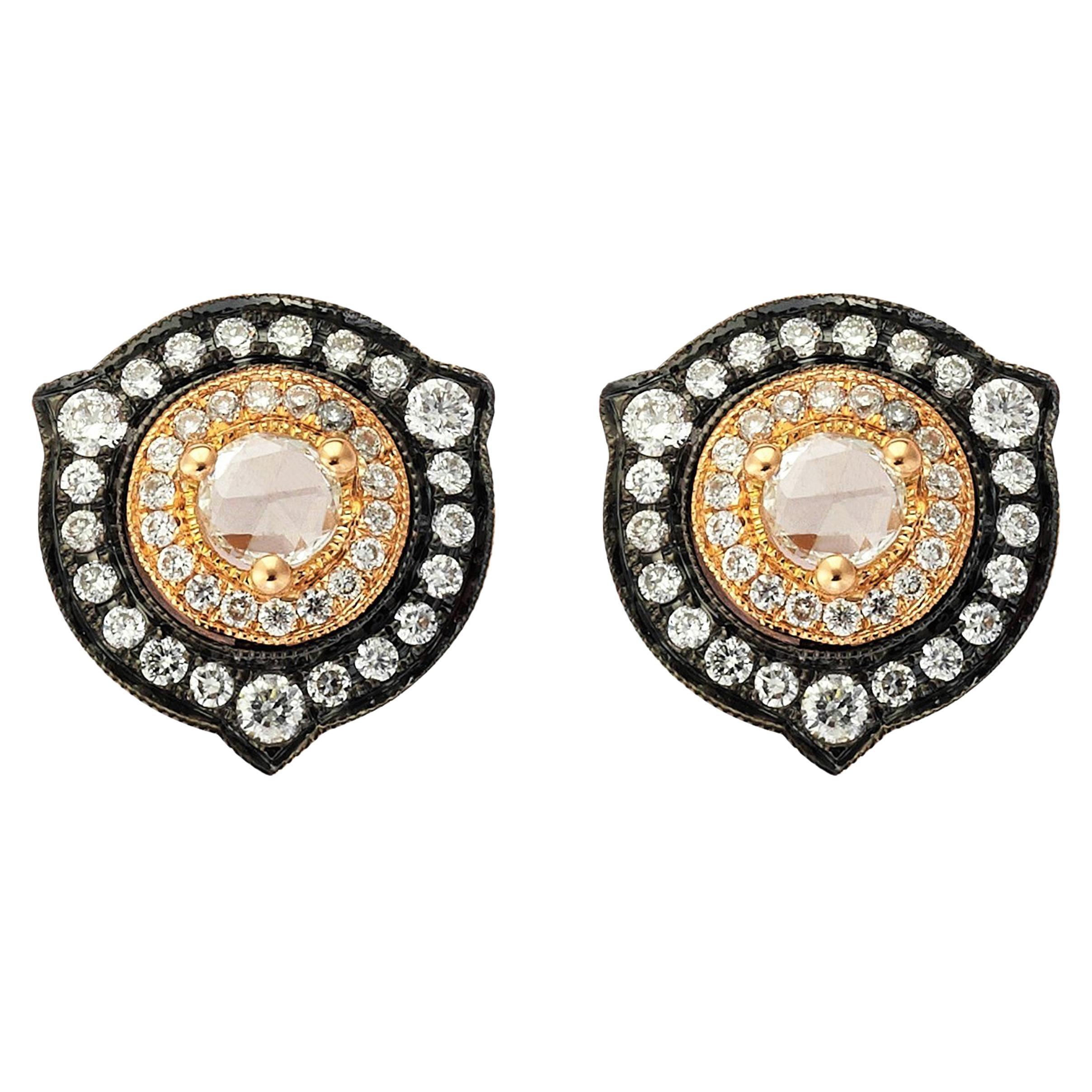18 Karat Gold Monan 0.59 Carat Diamond Earrings