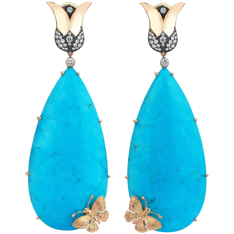 18 Karat Gold Monan 0.74 Carat Diamond and 93.20 Carat Turquoise Earrings