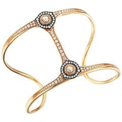 18 Karat Gold Monan 1.44 Carat Diamond Cuff Bracelet