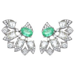 18 Karat Gold Monan 1.48 Carat Paraiba and 2.68 Carat Diamond Earrings