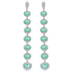 18 Karat Gold Monan 8.18 Carat Paraiba and 2.02 Carat Diamond Earrings