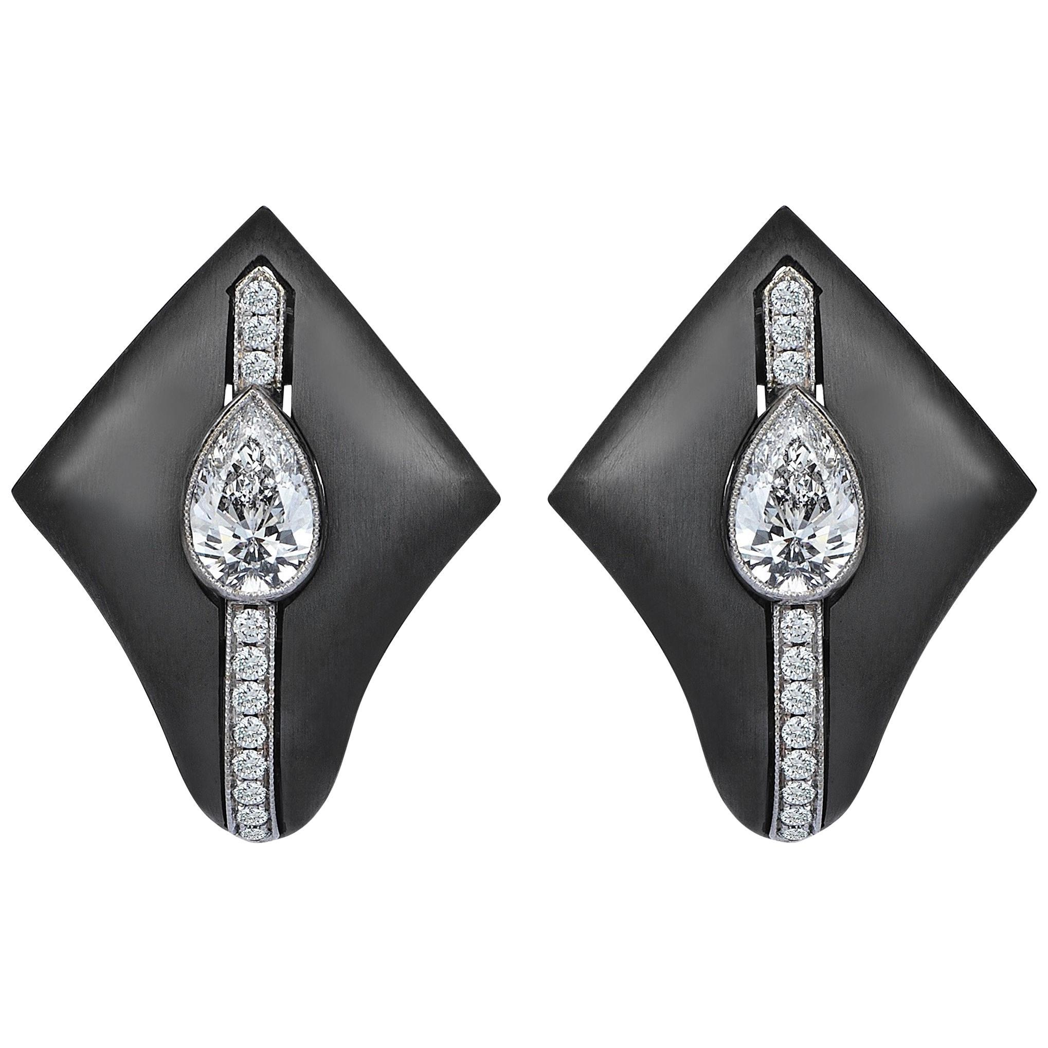 18 Karat Gold Monan Black Kingdom 1.05 Carat Diamond Earrings