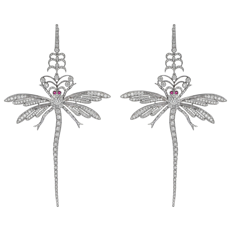 "18 Karat Gold Monan ""Dragonfly Earrings"" with 3.85 Carat Diamonds and Rubies"