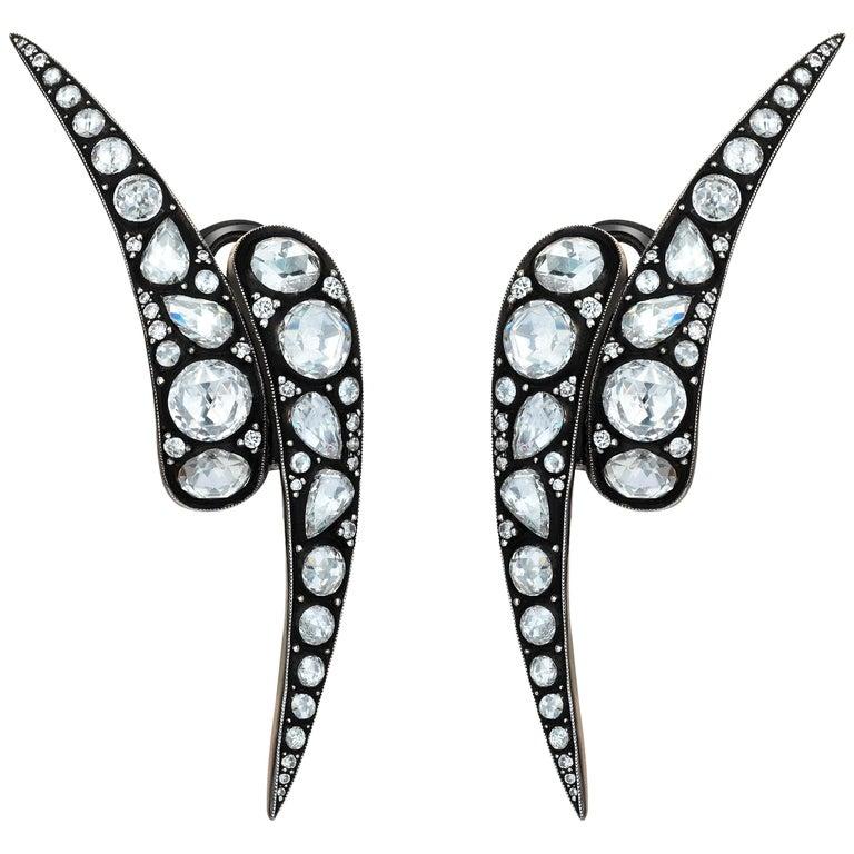 18 Karat Gold Monan Maleficent 3.04 Carat Diamond Earrings For Sale
