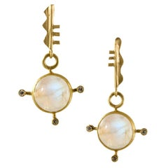 18 Karat Gold Moonstone and Diamond Bauhaus Inspired Earrings with Post